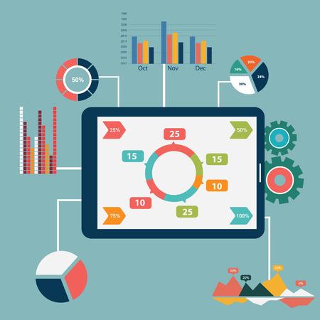 Platte ontwerp moderne vector illustratie pictogrammen instellen van de website SEO optimalisatie, programmering en web analytische elementen. Geïsoleerd op een stijlvolle gekleurde achtergrond. Stock Illustratie