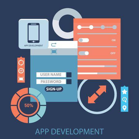programing: Flat design concept for app development with smartphone, tools, programing code on blue background. Illustration