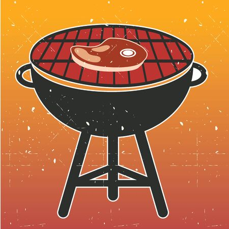charcoal grill: Grill BBQ Cookout Vector illustration.