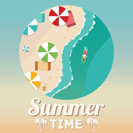 view on sea: Summer beach in flat design, aerial view, sea side and umbrellas, vector illustration.