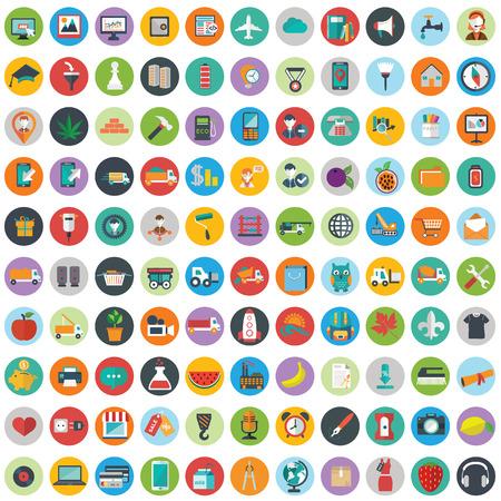 Icônes Plat Design illustration vectorielle grand ensemble moderne de divers éléments de services financiers, le développement web et de la technologie, symbole de la gestion d'entreprise, des articles de marketing et de matériel de bureau sur fond. Vecteurs