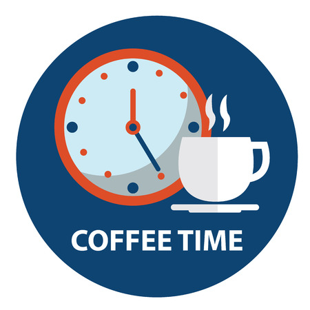 break up: Cup of coffee with clock. Coffee time, coffee break concept. Illustration