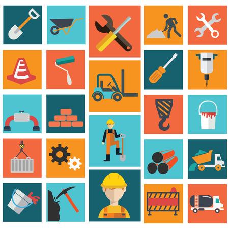 vector vlakke constructie icon set op een kleurrijke achtergrond. Stock Illustratie