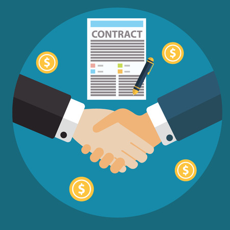 Zakenman zakelijk contract vel papier de hand handteken schudden na een akkoord, trendy platte design. Stock Illustratie