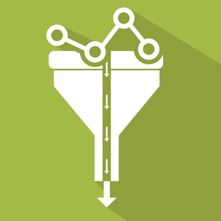 filtered: Flat design illustration concepts for creative process, big data filter, data tunnel, analysis concept. Illustration