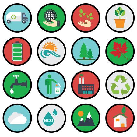Vector green eco icons ecology. Vector