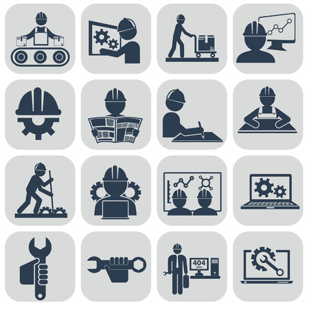 manufacturing occupation: Engineering vector icons set on gray.