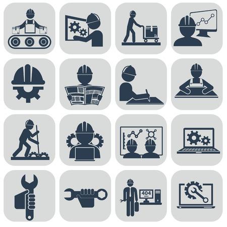 professions: Ingeniería iconos conjunto de vectores en gris. Vectores