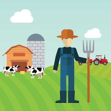 Farmer working in the farm. Vector