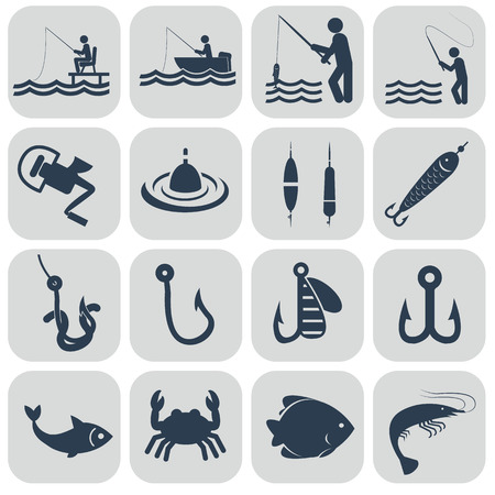 single color: Fishing icons in single color.