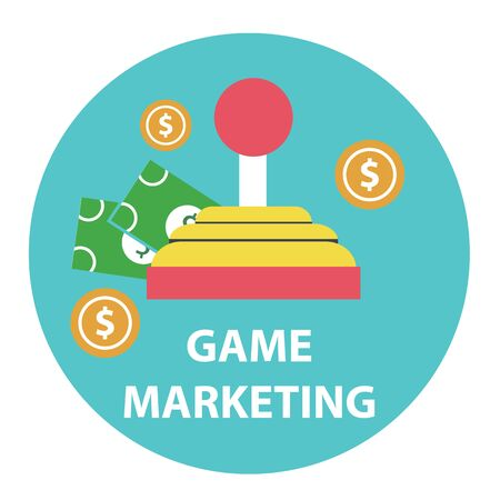 Game marketing and monetizing design concept . Vector
