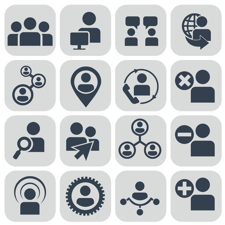 developing: Human resources and management icons set. Illustration