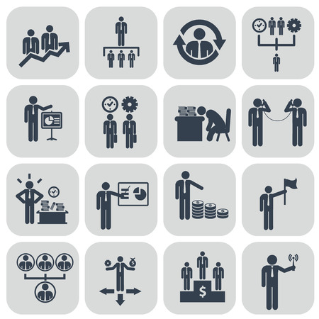 corporate hierarchy: Human resources and management icons set. Illustration