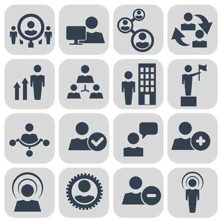 Human resources and management icons set