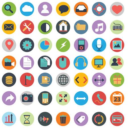 articulos oficina: Iconos planos de diseño moderno ilustración vectorial gran conjunto de varios elementos de servicios financieros, web y desarrollo de tecnología, símbolo de la gestión empresarial, elementos de marketing y equipo de oficina en el fondo Vectores
