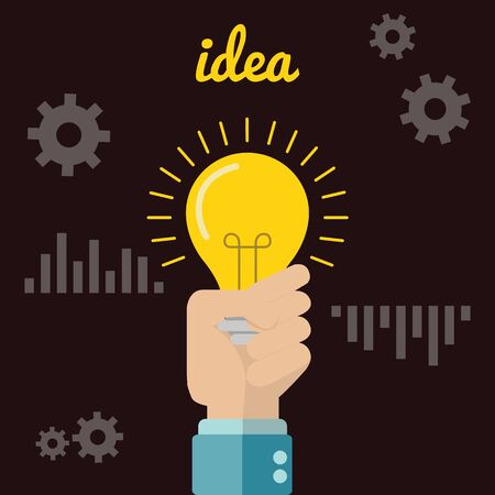 light bulb icon: Flat style modern idea innovation light bulb infographic concept. Conceptual web illustration of businessman hand holding lamp. Business strategy planning objects icon set collage Illustration