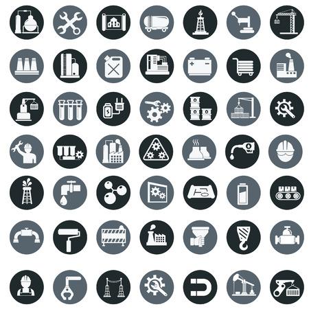 Vector-industrie fabriek iconen set.