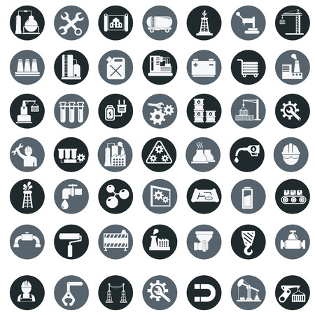 Vector industry factory icons set. Ilustrace