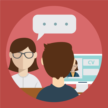 interview: interview with the candidate positions. job interview. vector illustration in a flat style
