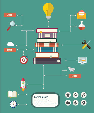 Vector illustration of flat design education infographic with copy space.