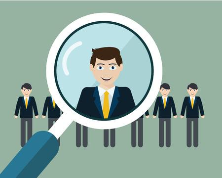 Vector illustratie van het vinden van professionele medewerkers met vergrootglas.
