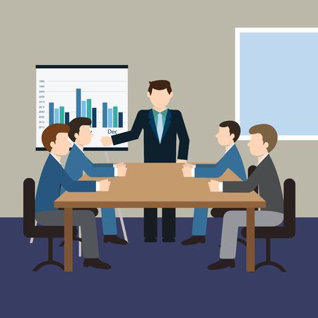 Zakelijke bijeenkomst en presentatie in een kantoor Stock Illustratie