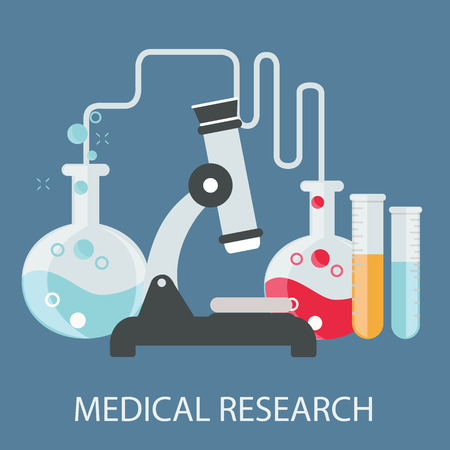 chemical engineering: Flat health care and medical research background. Healthcare system concept. Medicine and chemical engineering