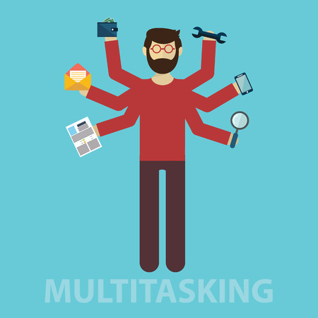 multitask: Development and internet service. Human resource and self employment - vector illustration
