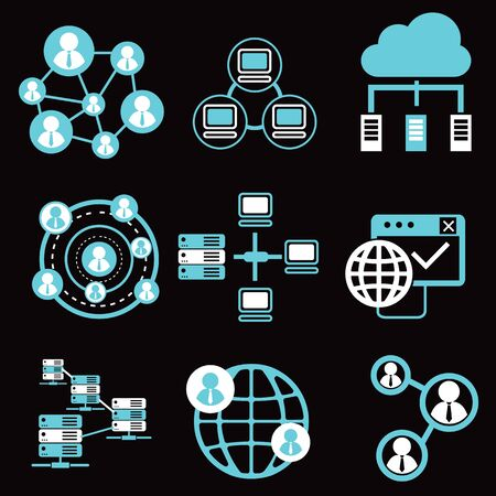 communication icons: social network icons, network and communication icons. Illustration