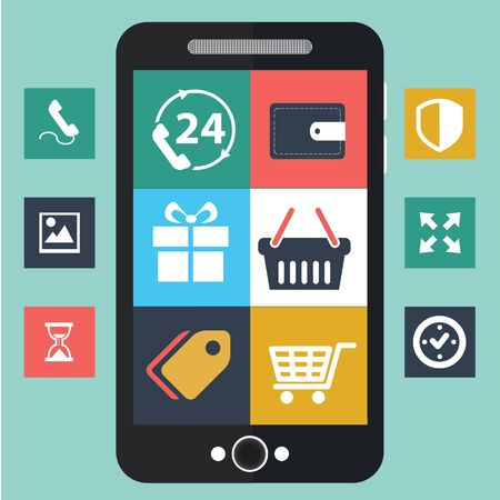 Vector mobiele app ontwikkeling, sociaal netwerk concept. Stock Illustratie