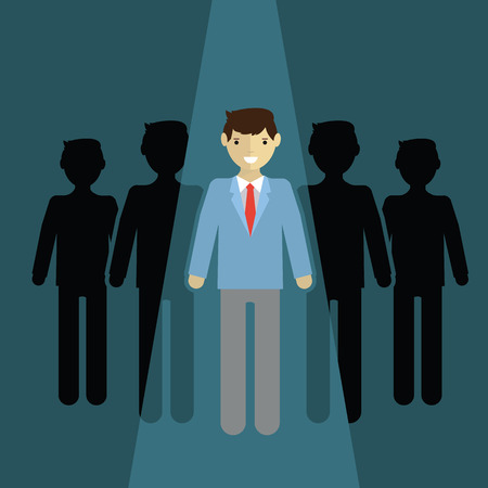 successful leadership: businessman of leader. Standing out of the cround. Illustration
