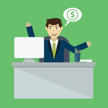 business transaction: Businessman win. Online business deal Vector flat illustration. Illustration