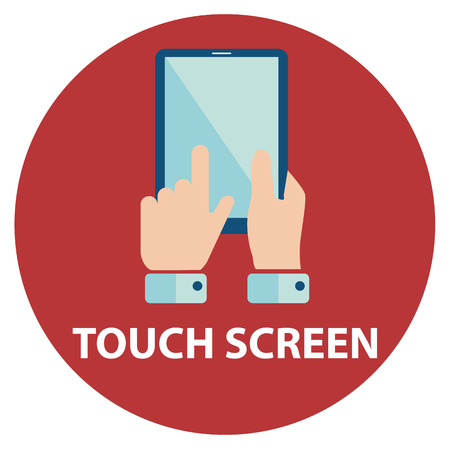 digital tablet: Modern flat icons vector in stylish retro color of mobile phone and digital tablet using with hand touching screen symbol