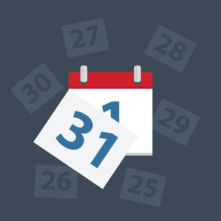 last day: Vector calendar apps icon. Last day of the month,