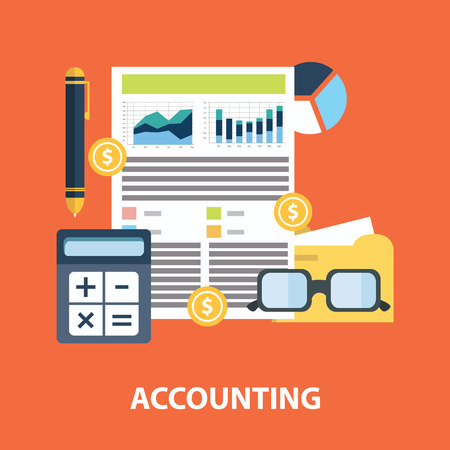 Successful financial business plan report and accounting concept vector illustration. Stock Illustratie