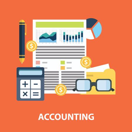 Succesvolle financieel business plan verslag en boekhouding concept vector illustratie. Stock Illustratie