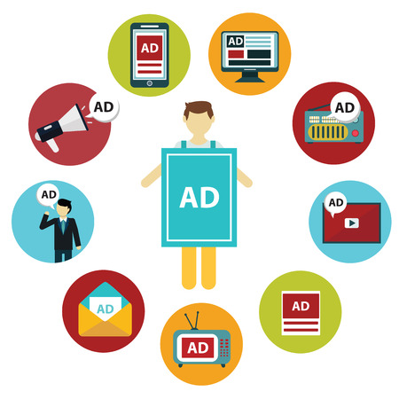 Advertising design concept set media and guerrilla marketing flat icons isolated vector illustration. Stock Vector - 39119937