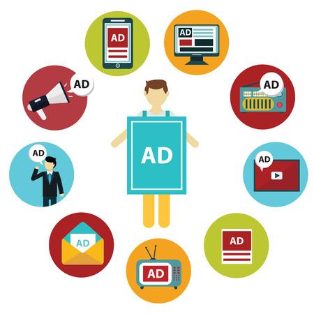 Reclame-design-concept ingesteld media en guerrilla marketing vlakke pictogrammen geïsoleerd vector illustratie.