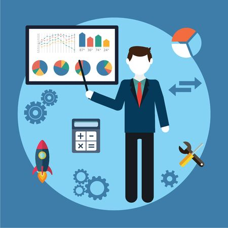 Vector illustration business concept  man businessman character,  graphics on the white board, flat style