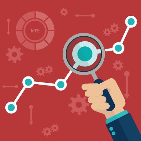 Vlakke vector illustratie van web analytics informatie en ontwikkeling website statistiek.