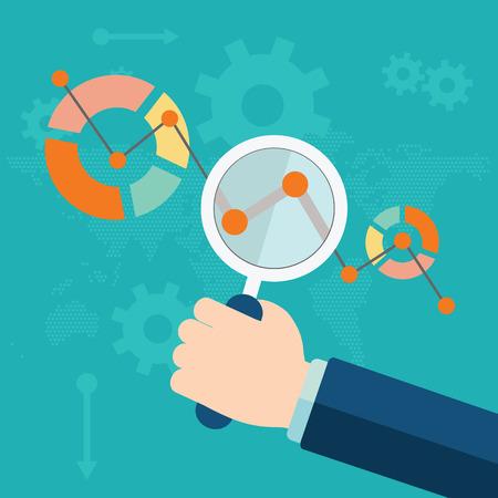 Flat vector illustration of web analytics information and development website statistic.