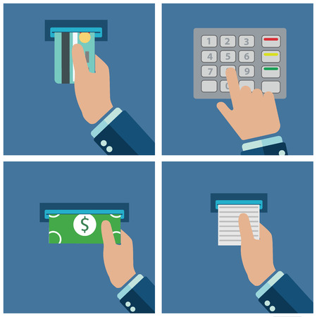 ATM 단말기 사용. 터미널을 통해 지불. ATM 카드에서 돈을 받고. 벡터 일러스트 레이 션.