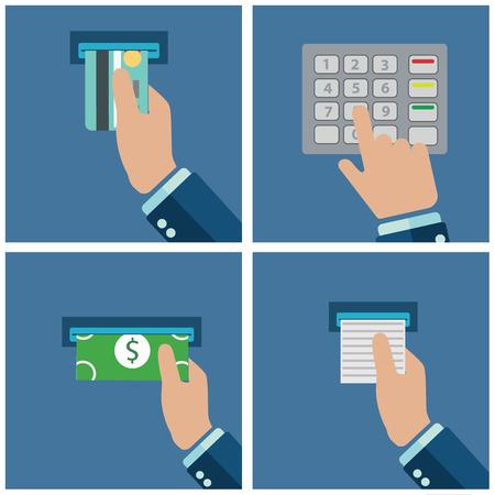 automatic transaction machine: El uso del terminal ATM. El pago a través del terminal. Conseguir dinero de una tarjeta de cajero automático. Ilustración del vector.