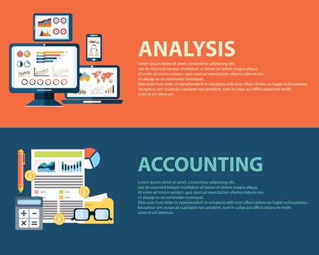 contabilidad: An�lisis de negocio estilo Flat concepto infograf�a y finanzas contabilidad. Plantillas de banners Web fijados Vectores