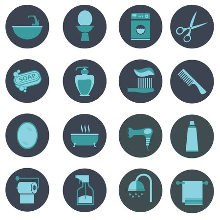 implements: Bathroom icons set  flat vector design Illustration