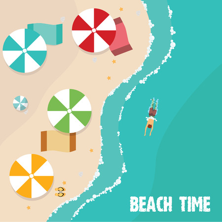 beach side: Summer beach in flat design, aerial view, sea side and umbrellas, vector illustration.