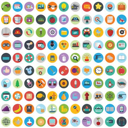 Vlakke pictogrammen ontwerpen moderne vector illustratie grote verzameling van verschillende financiële dienstverleners artikelen, web en technologie-ontwikkeling, business management symbool, marketing artikelen en kantoorapparatuur op de achtergrond.