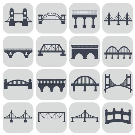 Vector geïsoleerd bruggen iconen set. Stock Illustratie