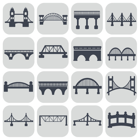 suspension bridge: Vector isolated bridges icons set.