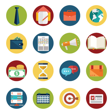 Web design objecten, levering, zaken, kantoor en marketing artikelen iconen